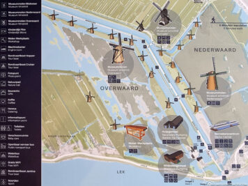 A map of Kinderdijk's windmills