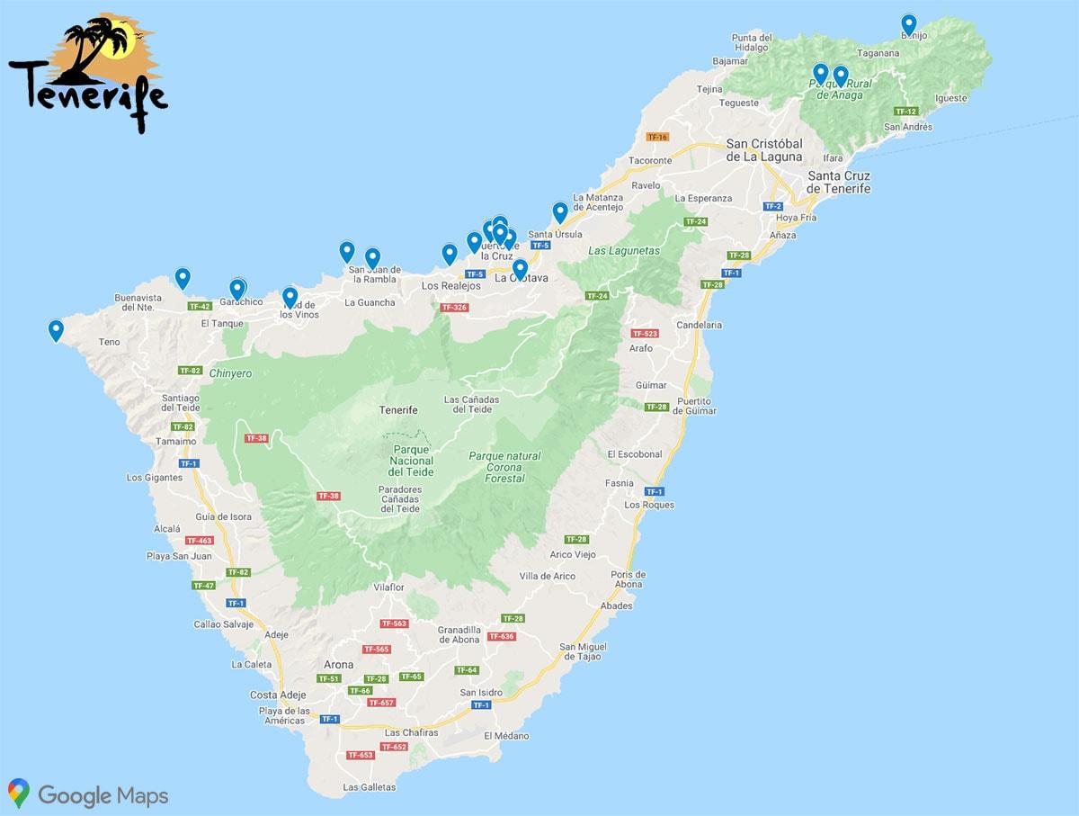 North Coast, Tenerife, Sights, Photo Spots, Map