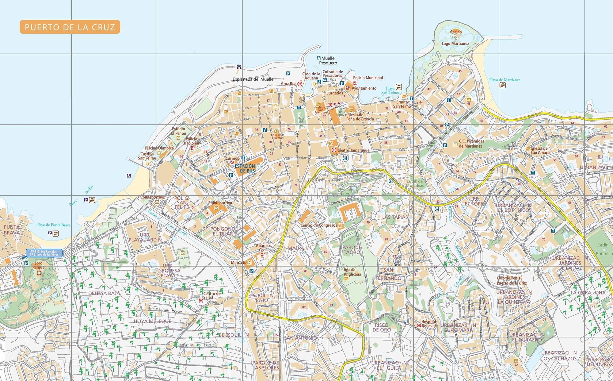 Puerto de La Cruz Teneriffa Karte