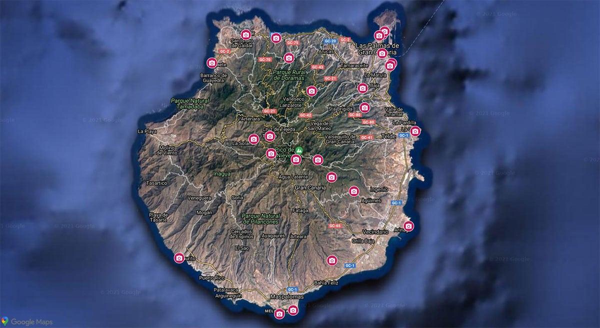 Gran Canaria, Sights, Map